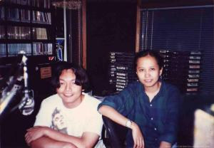 my co-host Myrene(Sandwich/Imago) at the old NU107 station for Groove Nation Sessions 94-96