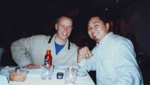 Peter Coyle of The Lotus Eaters with good friend Karlo Samson at the dinner hosted by my cousin Cherish Garcia.